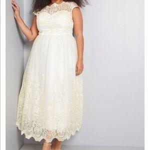 ModCloth Chi Chi London Cream Gold Wedding Dress